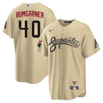 Men's Arizona Diamondbacks #40 Madison Bumgarner 2021 Gold City Connect Cool Base Stitched Baseball Jersey