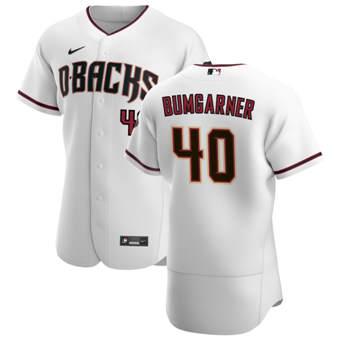 Men's Arizona Diamondbacks #40 Madison Bumgarner White Crimson Authentic Home Team Baseball Jersey