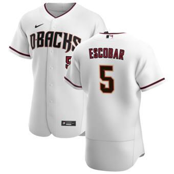 Men's Arizona Diamondbacks #5 Eduardo Escobar White Crimson Authentic Home Team Baseball Jersey