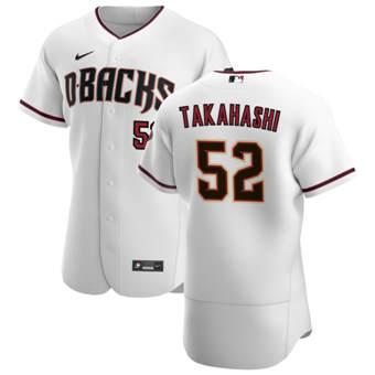 Men's Arizona Diamondbacks #52 Bo Takahashi White Crimson Authentic Home Team Baseball Jersey