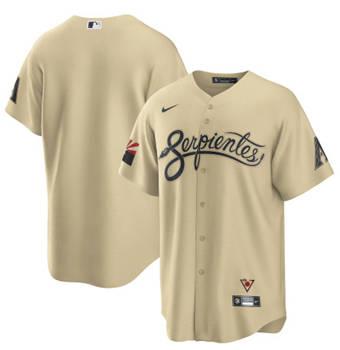 Men's Arizona Diamondbacks Blank 2021 Gold City Connect Cool Base Stitched Baseball Jersey