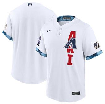 Men's Arizona Diamondbacks Blank 2021 White All-Star Cool Base Stitched Baseball Jersey