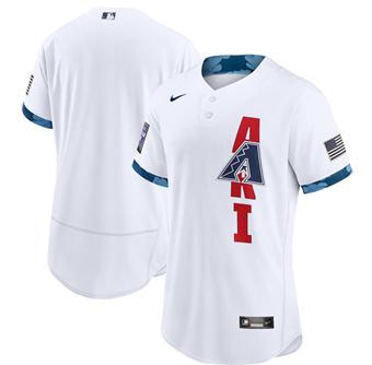 Men's Arizona Diamondbacks Blank 2021 White All-Star Flex Base Stitched Baseball Jersey