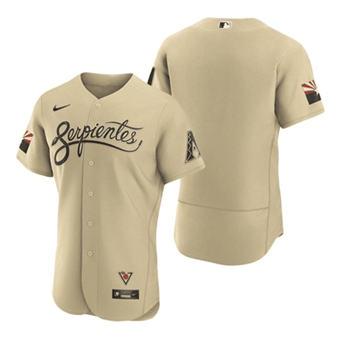 Men's Arizona Diamondbacks Blank Serpientes Gold 2021 City Connect Flex Base Stitched Baseball Jersey