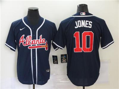 Men's Atlanta Braves #10 Chipper Jones 2020 Navy Alternate Authentic Baseball Player Jersey
