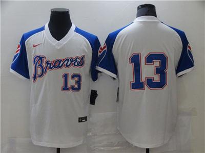 Men's Atlanta Braves #13 Cool Base Stitched Baseball Jersey