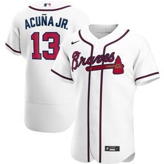 Men's Atlanta Braves #13 Ronald Acuna Jr. 2020 White Home Authentic Player Baseball Jersey