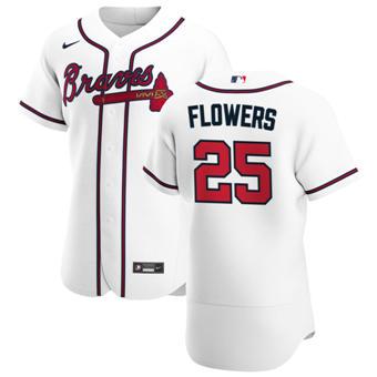 Men's Atlanta Braves #25 Tyler Flowers White Home 2020 Authentic Player Baseball Jersey