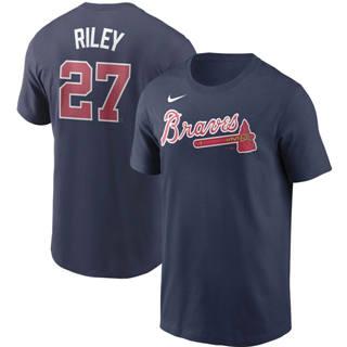 Men's Atlanta Braves #27 Austin Riley Name & Number T-Shirt Navy