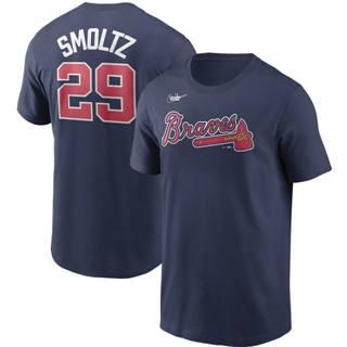 Men's Atlanta Braves #29 John Smoltz Cooperstown Collection Name & Number T-Shirt Navy