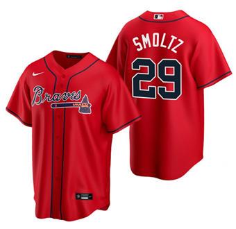 Men's Atlanta Braves #29 John Smoltz Red Cool Base Stitched Baseball Jersey