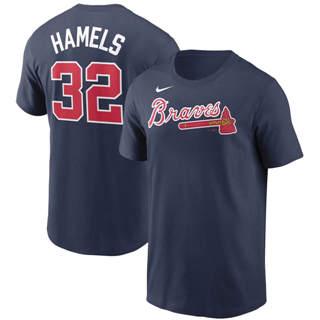 Men's Atlanta Braves #32 Cole Hamels Name & Number T-Shirt Navy