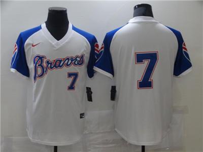 Men's Atlanta Braves #7 Cool Base Stitched Baseball Jersey