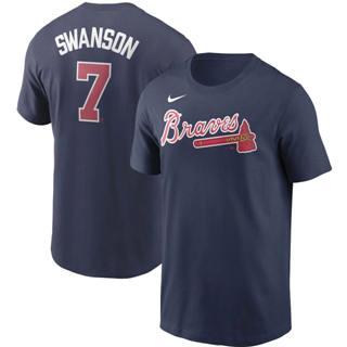 Men's Atlanta Braves #7 Dansby Swanson Name & Number T-Shirt Navy