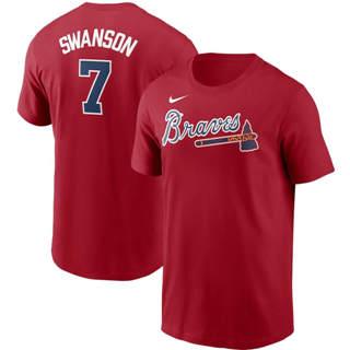 Men's Atlanta Braves #7 Dansby Swanson Name & Number T-Shirt Red