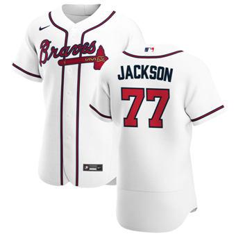 Men's Atlanta Braves #77 Luke Jackson White Home 2020 Authentic Player Baseball Jersey