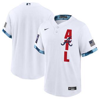 Men's Atlanta Braves Blank 2021 White All-Star Cool Base Stitched Baseball Jersey