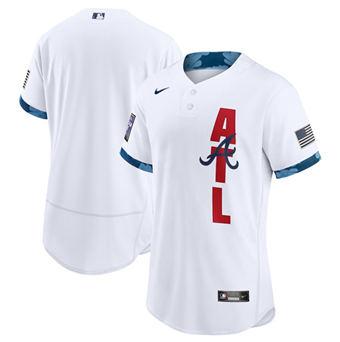 Men's Atlanta Braves Blank 2021 White All-Star Flex Base Stitched Baseball Jersey
