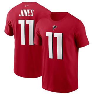 Men's Atlanta Falcons #11 Julio Jones Team Player Name & Number T-Shirt Red