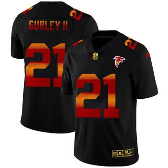 Men's Atlanta Falcons #21 Todd Gurley II Black Red Orange Stripe Vapor Limited Football Jersey