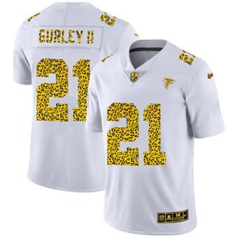 Men's Atlanta Falcons #21 Todd Gurley II Flocked Leopard Print Vapor Limited Football Jersey White