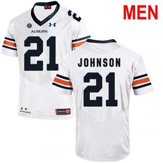 Men's Auburn Tigers #21 Kerryon Johnson White 2019 College Football Jersey