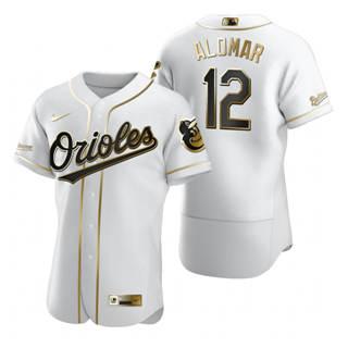 Men's Baltimore Orioles #12 Roberto Alomar White 2020 Authentic Golden Edition Baseball Jersey