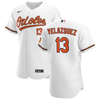 Men's Baltimore Orioles #13 Andrew Velazquez White Home 2020 Authentic Player Baseball Jersey