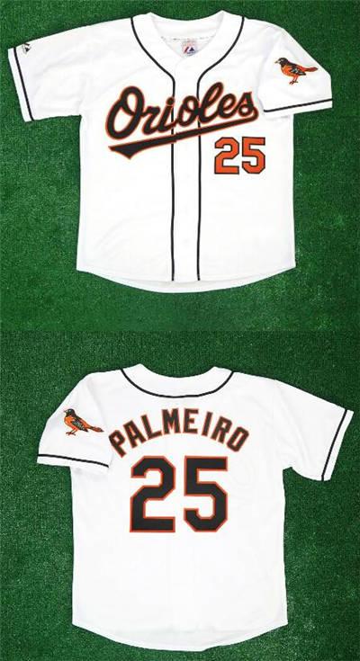 Men's Baltimore Orioles #25 Rafael Palmeiro 1995 Home White Stitched Baseball Jersey