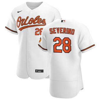 Men's Baltimore Orioles #28 Pedro Severino White Home 2020 Authentic Player Baseball Jersey