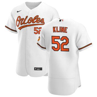 Men's Baltimore Orioles #52 Branden Kline White Home 2020 Authentic Player Baseball Jersey