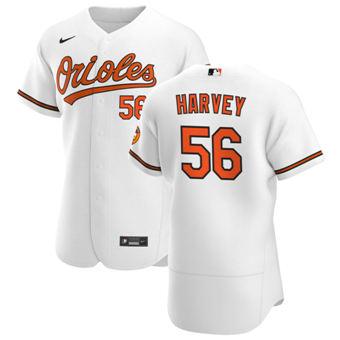 Men's Baltimore Orioles #56 Hunter Harvey White Home 2020 Authentic Player Baseball Jersey