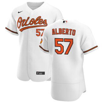 Men's Baltimore Orioles #57 Hanser Alberto White Home 2020 Authentic Player Baseball Jersey