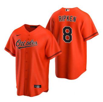 Men's Baltimore Orioles #8 Cal Ripken Jr. Orange Cool Base Stitched Baseball Jersey