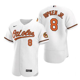 Men's Baltimore Orioles #8 Cal Ripken Jr. White Flex Base Stitched Baseball Jersey