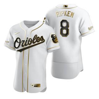 Men's Baltimore Orioles #8 Cal Ripken Jr White 2020 Authentic Golden Edition Baseball Jersey
