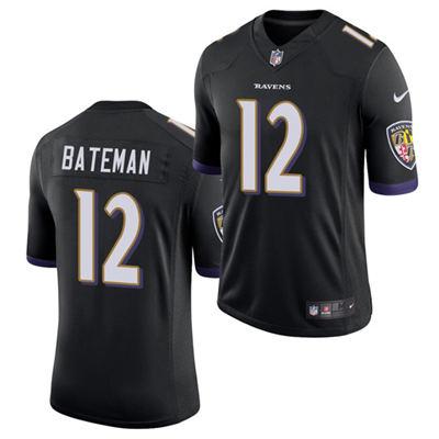 Men's Baltimore Ravens #12 Rashod Bateman Black 2021 Vapor Untouchable Limited Stitched Football Jersey