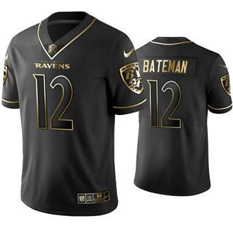 Men's Baltimore Ravens #12 Rashod Bateman Black Golden Edition Limited Stitched Football Jersey
