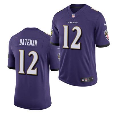Men's Baltimore Ravens #12 Rashod Bateman Purple 2021 Vapor Untouchable Limited Stitched Football Jersey