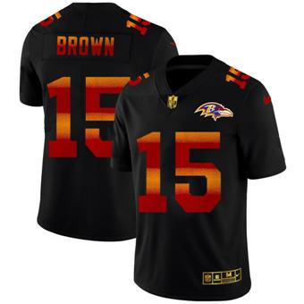 Men's Baltimore Ravens #15 Marquise Brown Black Red Orange Stripe Vapor Limited Football Jersey