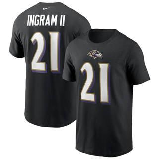 Men's Baltimore Ravens #21 Mark Ingram Team Player Name & Number T-Shirt Black