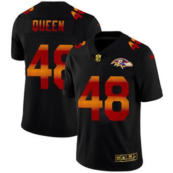 Men's Baltimore Ravens #48 Patrick Queen Black Red Orange Stripe Vapor Limited Football Jersey