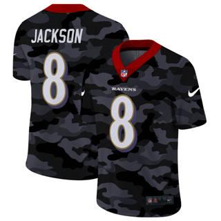 Men's Baltimore Ravens #8 Lamar Jackson 2020 Black CAMO Vapor Untouchable Limited Stitched Football Jersey
