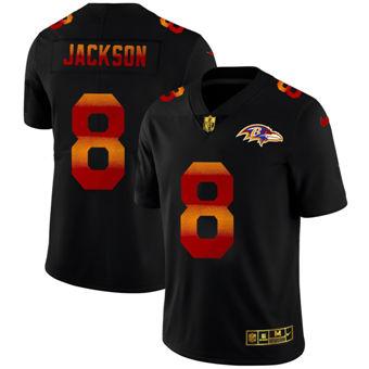 Men's Baltimore Ravens #8 Lamar Jackson Black Red Orange Stripe Vapor Limited Football Jersey