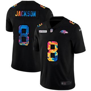 Men's Baltimore Ravens #8 Lamar Jackson Multi-Color Black 2020 Football Crucial Catch Vapor Untouchable Limited Jersey