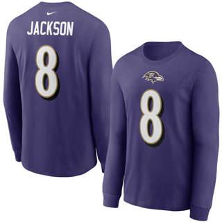Men's Baltimore Ravens #8 Lamar Jackson Player Name & Number Long Sleeve T-Shirt Purple