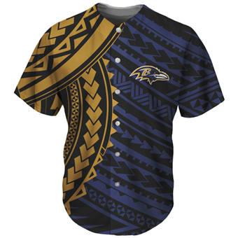 Men's Baltimore Ravens Navy Baseball Jersey