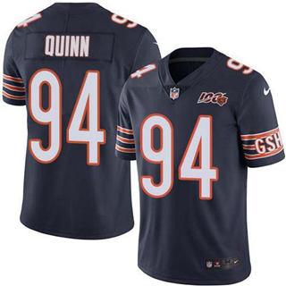 Men's Bears #94 Robert Quinn Navy Blue Team Color Stitched Football 100th Season Vapor Untouchable Limited Jersey