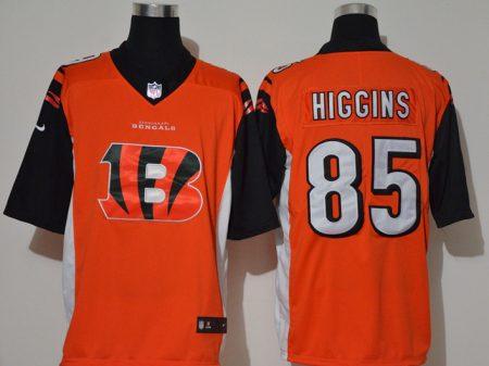 Men's Bengals #85 Tee Higgins Orange Football Team Big Logo Fashion Vapor Untouchable Limited Jersey