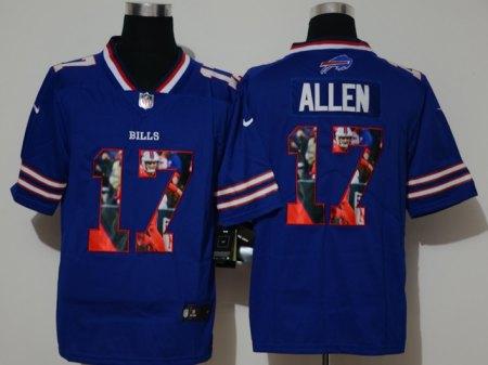 Men's Bills #17 Josh Allen Royal Football Color Printing Fashion Vapor Untouchable Limited Jersey